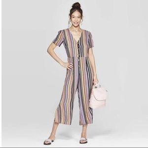 Vertical Stripe jumpsuit buttons puff short sleeve